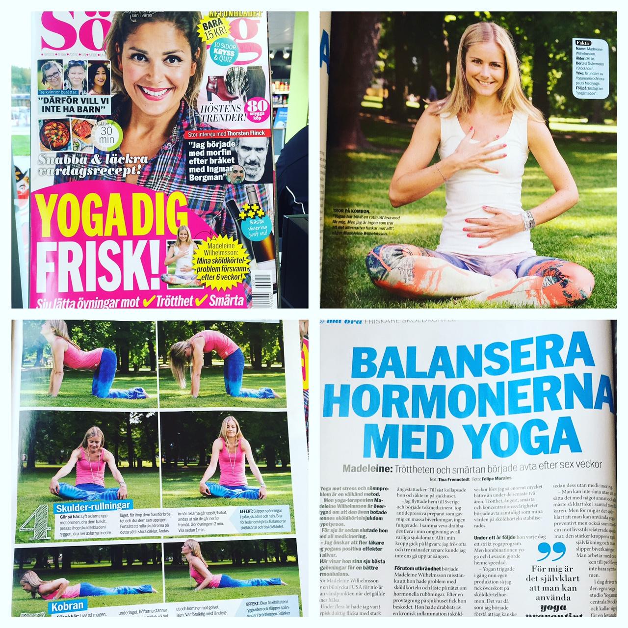 YogaMana's Madeleine Wilhelmsson visar MediYoga i Aftonbladet Söndag