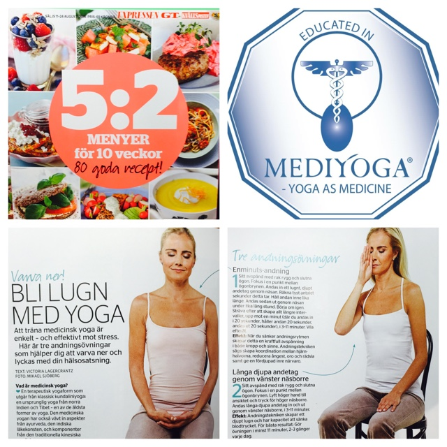 Madeleine Wilhelmsson visar yoga i Expressens bilaga 5:2 dieten
