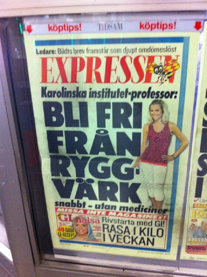Madeleine Wilhelmsson på Expressens Löpsedel - MediYoga för Ryggen