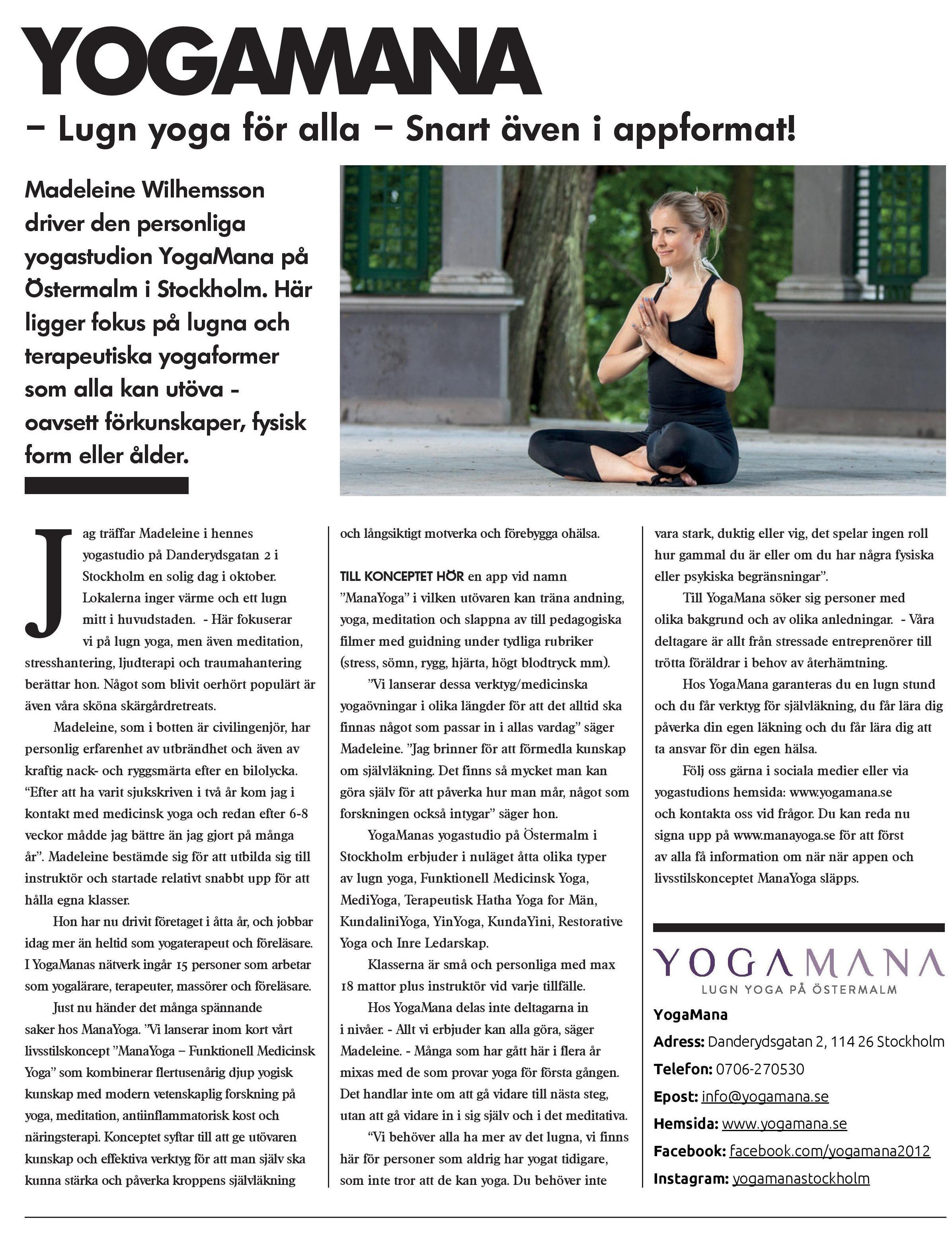 ManaYoga i Enterprise Magazine juni 2019
